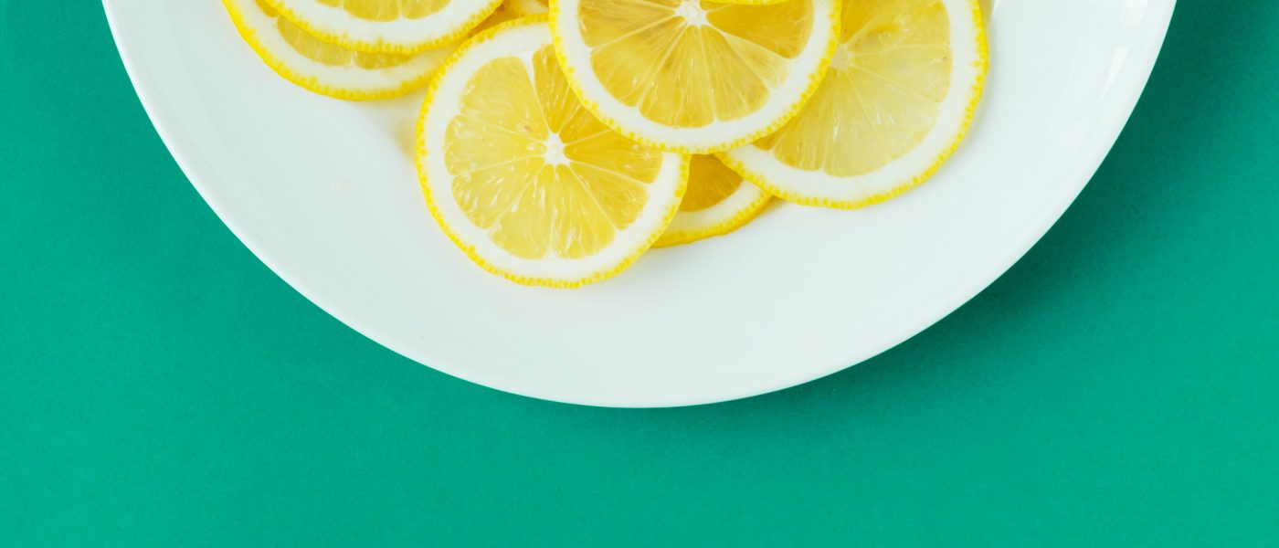 top down picture of lemon slices on a plate