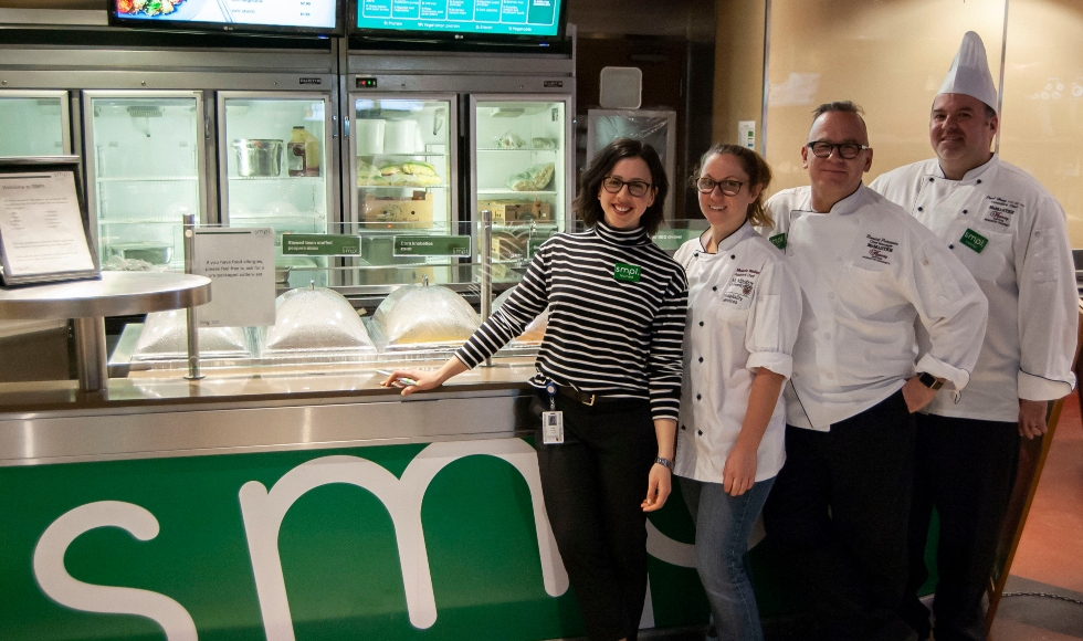 food service counter with SMPL team