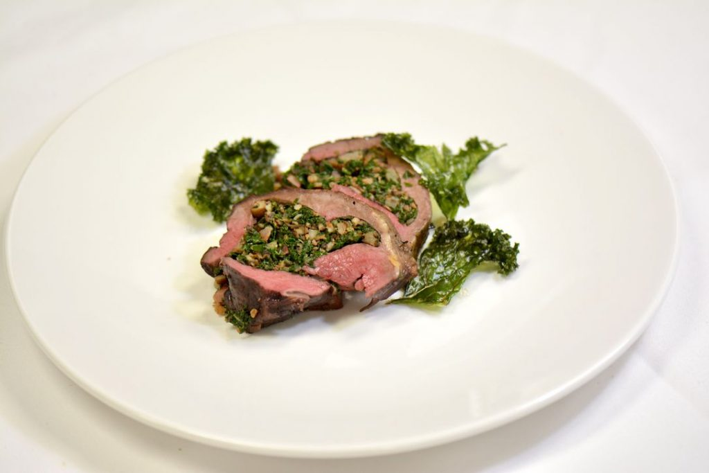 Stuffed Canadian Beef Heart with Bacon, Kale and Mushrooms