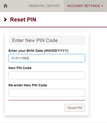 Web form to enter new PIN