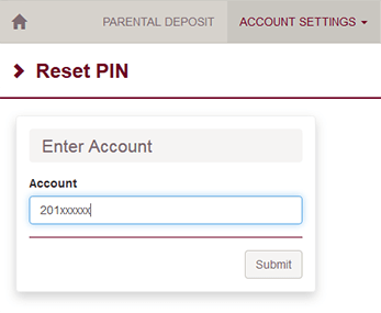 Web form to reset PIN